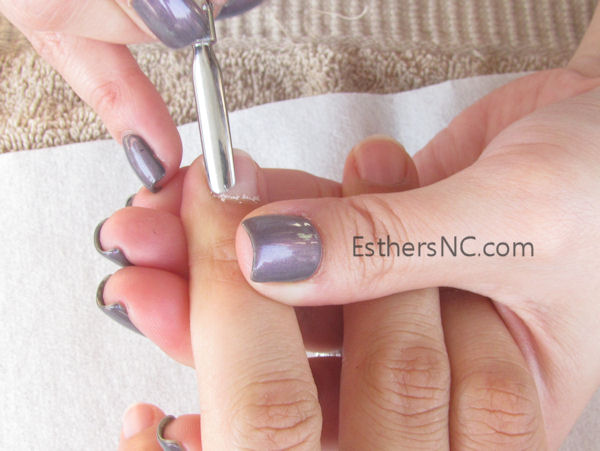 how to apply shellac nail polish - push cuticle
