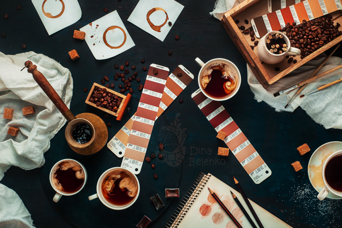 A flat lay using monochromatic color scheme based on natural shades of coffee