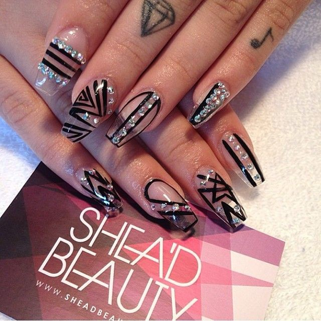 transparent nail design прозрачный маникюр черный manicure with transparent tips